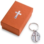 Key Ring Cross Silverplated