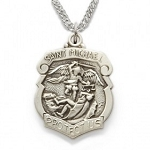 St. Michael Police Badge Pewter Necklace