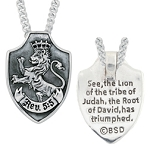 Sterling Silver Necklace - Lion of Judah Shield
