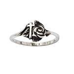 Sterling Silver Ladies' Cross Christian Ring - Rose