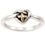Sterling Silver Ladies' Cross Christian Ring - Two-Tone Love Knot