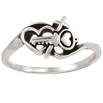 Sterling Silver Ladies' Cross Christian Ring - Key/Heart