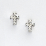 Cross Earrings - Sterling silver with CZs