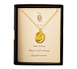 St. Anthony Medal Necklace Gold Vermeil