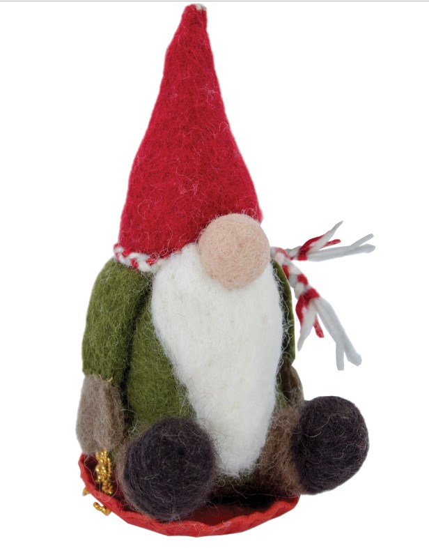 Sledding Gnome Felted Wool Ornament