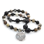 Silver Leaf Jasper & Onyx Anglican Prayer Beads