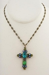 Peacock Cross Necklace