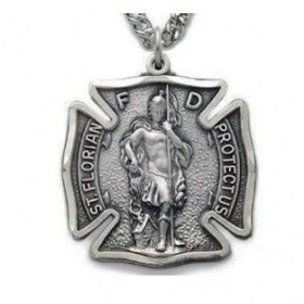 St. Florian Fire Department Badge Pewter Necklace
