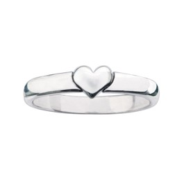 Sterling Silver Ladies' Heart Christian Ring - Puffy/1 Corinthians 13:13