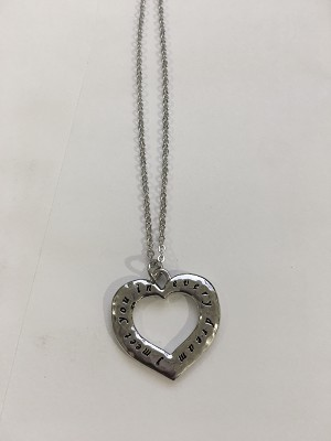 Meet You In Every Dream Heart Hamilton Necklace Silver Finish