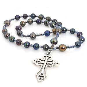Peacock Freshwater Pearls Anglican Prayer Beads