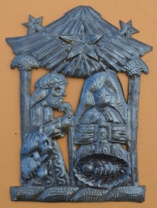 Small Standing Metal Nativity