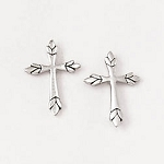 Cross Leaf Tip Earrings - Sterling Silver